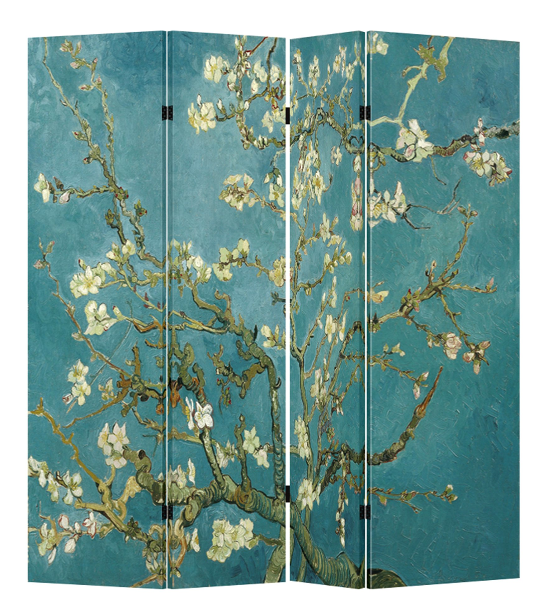 4 Panel (Original Teal Color) Wood Folding Screen Decorative Canvas Privacy Partition Room Divider - Vincent van Gogh's Almond Blossoms by Toa