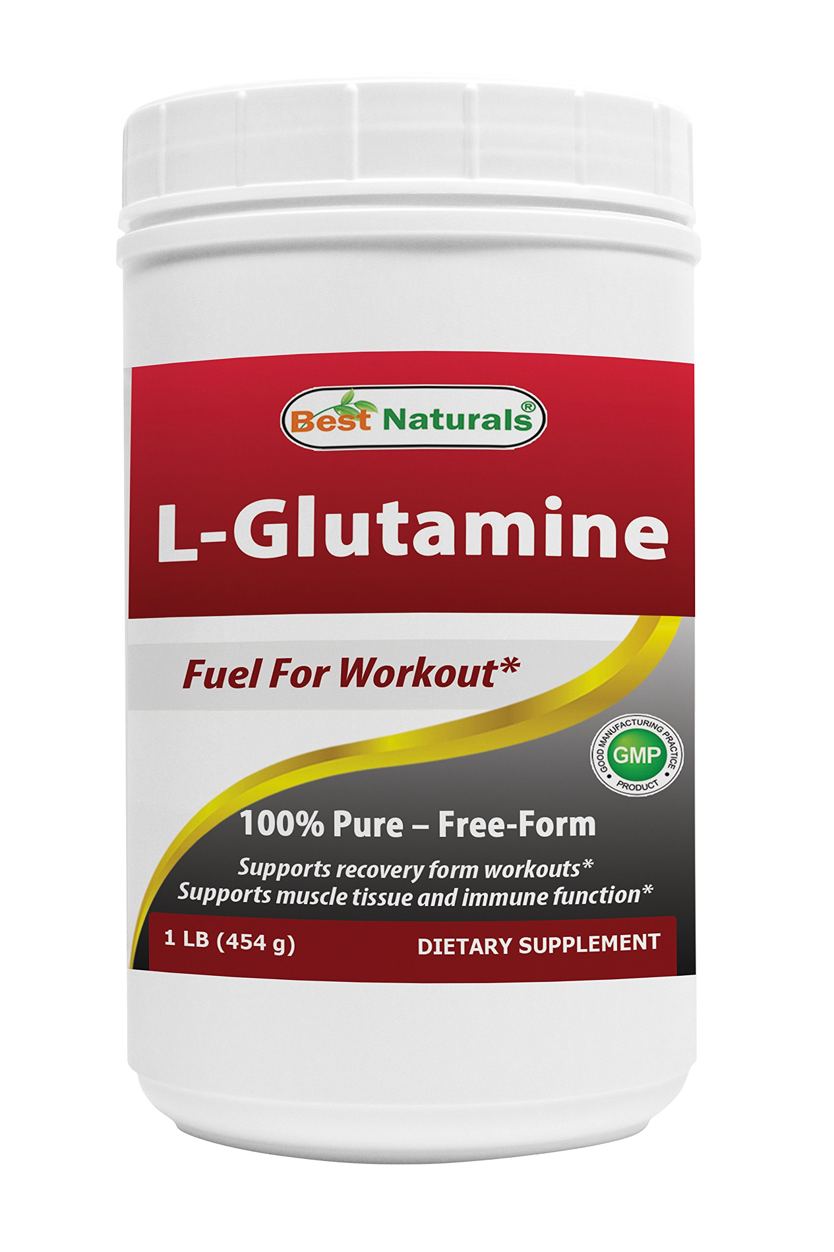 Best Naturals L-Glutamine Powder - 1 Pound - 100% Pure and free form - Glutamine Recovery Powder - Clinically Proven Recovery Aid for Men and Women