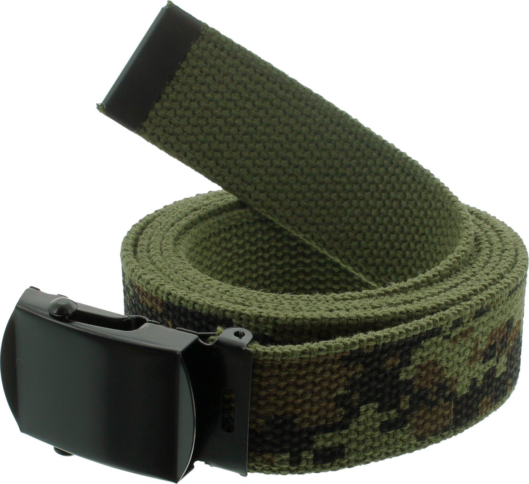 100% Cotton Military 54'' Web Belt (Woodland Digital Camouflage w/Black Buckle)