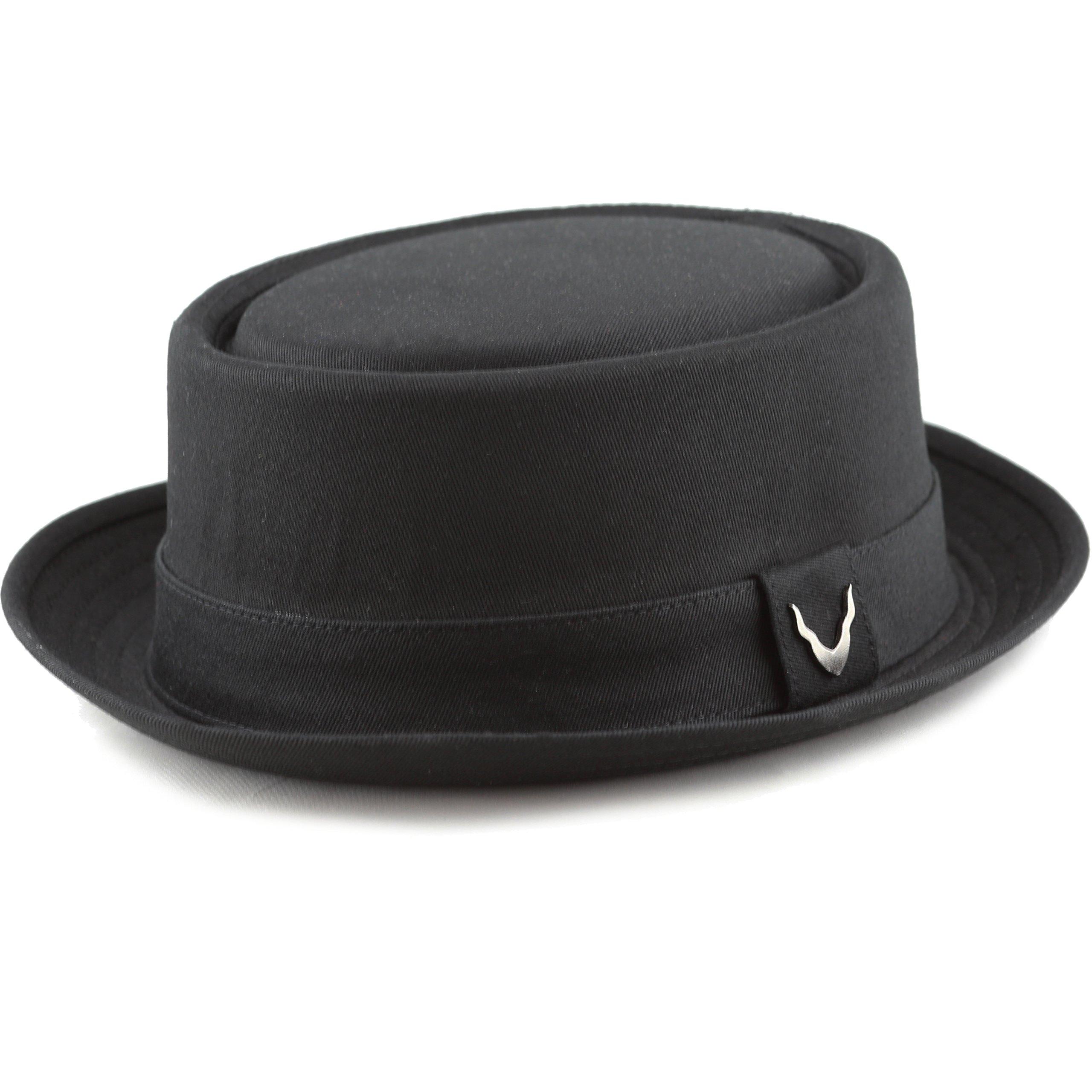201f684ba THE HAT DEPOT Black Horn Cotton Plain Porkpie Hat (Large, Black ...
