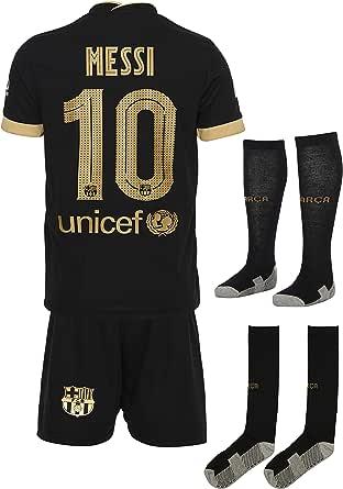 Barca Messi 2020/2021 uitwedstrijdshirt en shorts met sokken, kinderen en jongeren, maat