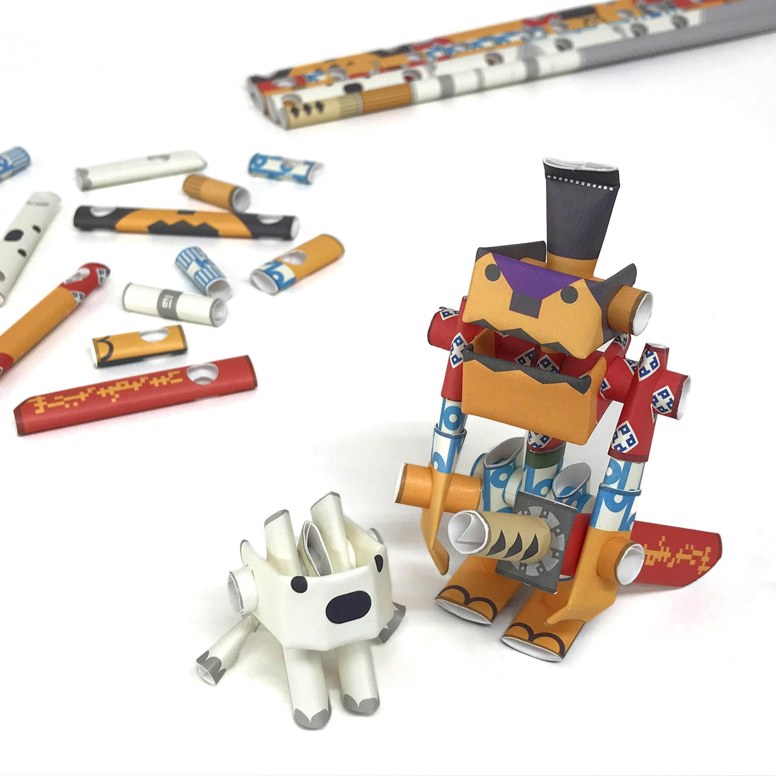 PIPEROID DIY 3D Puzzle Paper Craft Kit Rokusuke & Hachi Samurai & His Dog - Japanese Arts and Craft Kit for Kids and Adults - Birthday Gift and Party Favor for Origami Paper Craft Enthusiasts