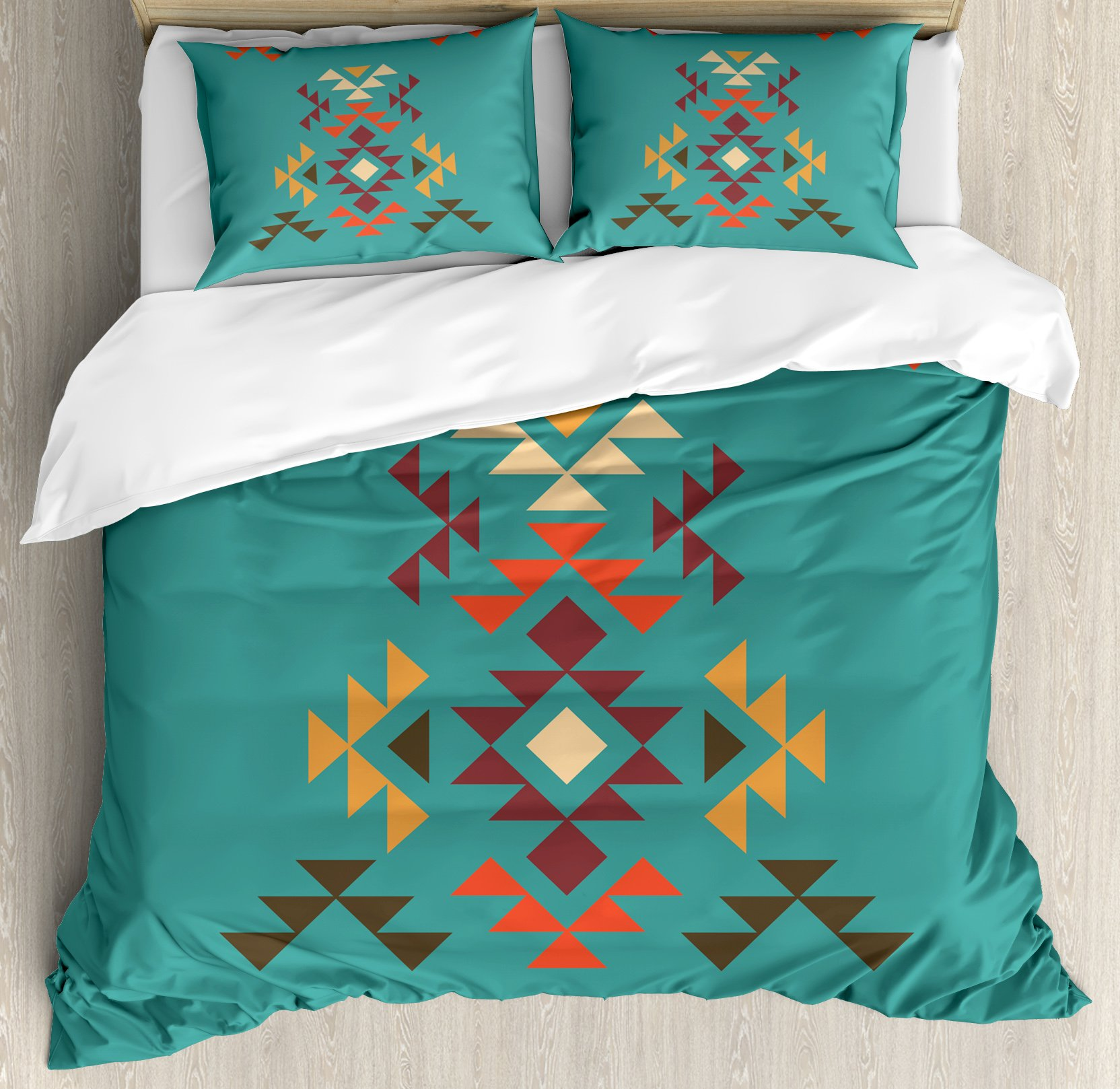 Lunarable Aztec Duvet Cover Set Queen Size, Colorful Geometric Shapes on Teal Backdrop Cheerful Tribal Design Ethnic Culture, Decorative 3 Piece Bedding Set with 2 Pillow Shams, Teal Multicolor by Lunarable