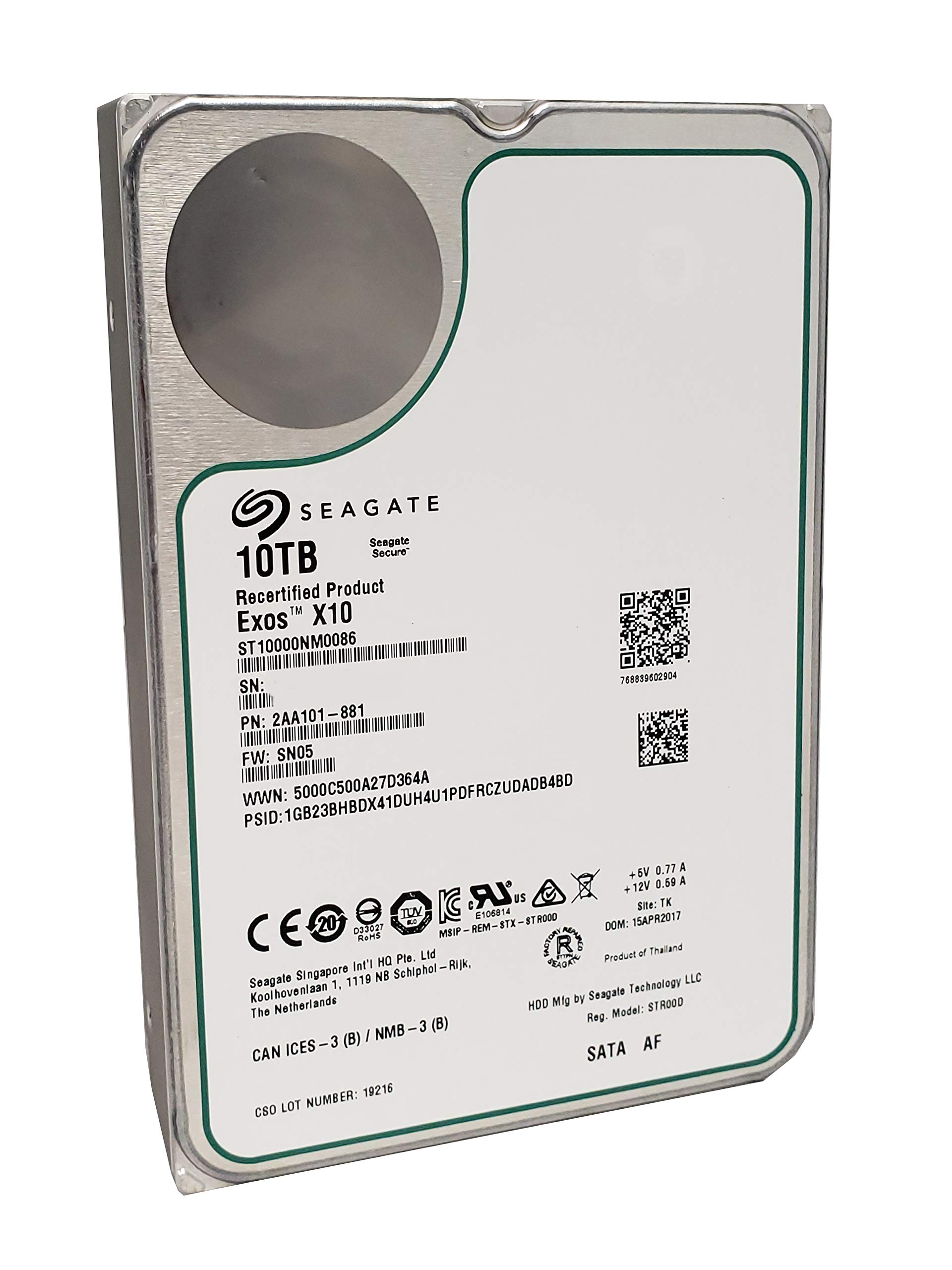 Seagate Exos X10 HDD | ST10000NM0086 | 10TB 7200RPM | SATA 6Gb/s 256MB Cache 3.5-Inch | 512e | Enterprise Internal Hard Disk Drive (Renewed) by Seagate (Image #1)
