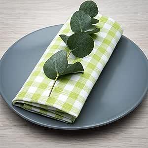 Servilletas FILU, 100 % algodón, verde claro y blanco, 4 unidades ...