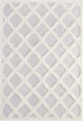 Modway Whimsical Regale Abstract Moroccan Trellis Area Rug, 5×8, Ivory and Light Gray