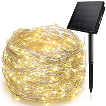 Solar String Lights, Ankway 200 LED Fairy Lights 8 Modes 3 Strands Copper  Wire