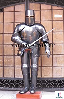 Full Suit of Armour Medieval Knight Crusader Wearable Suit of Armour - Black Nauticalmart