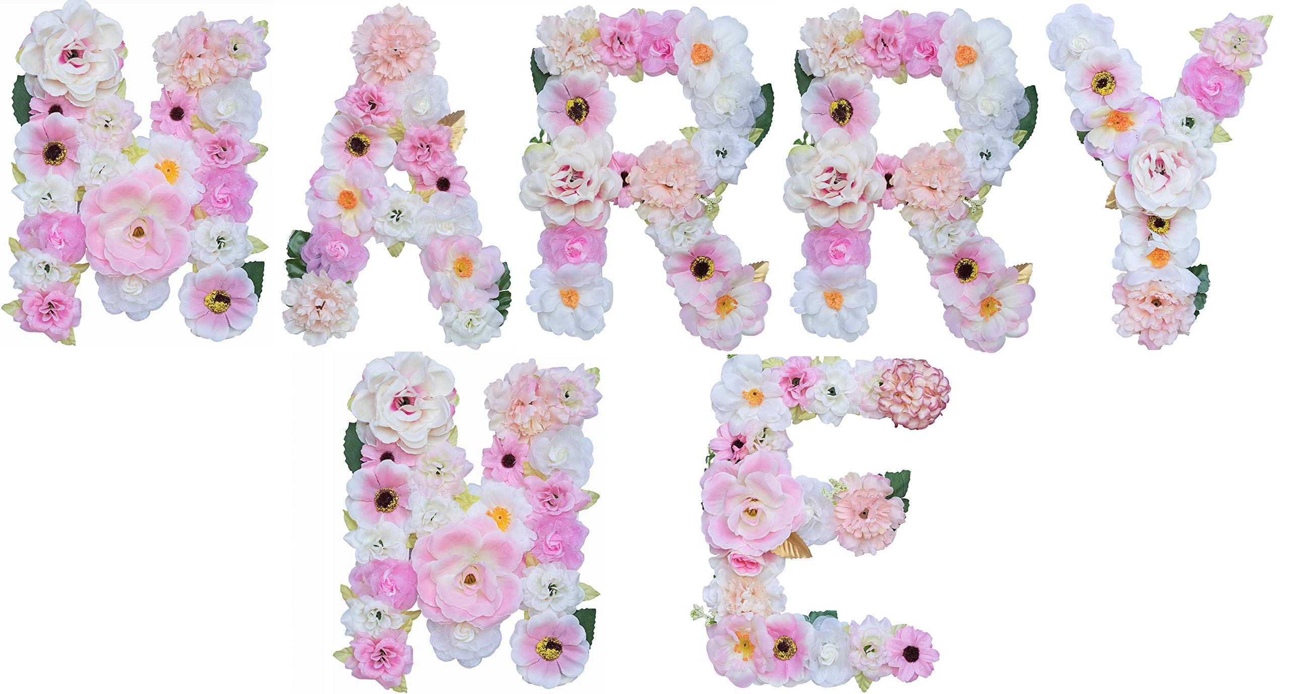 ZHENHAN Artificial Pink Floral Decorative Letters, 7.9''x5.5''x1.1'', Alphabet Letters with Fake Flowers, for Bedroom/Living Room/Corridor/Front Door, for Special Occasion/Event (Combinations, Marry ME)