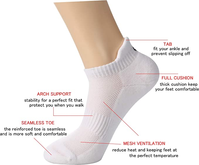 GILLYA Ankle Socks for Men Women 5 Pack Running Socks Low Cut Colorful Lightweight Padded Anti-Blisters Athletic Socks
