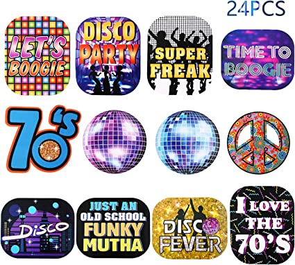 LET/'S BOOGIE 70s DISCO BALL cardstock CUTOUT DECORATION 1970s party supplies