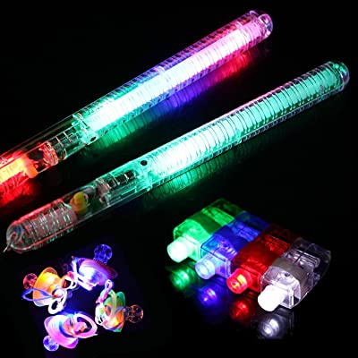60 Pieces LED Light Up Toy Party Favor Party Pack - 48 LED Finger Lights, 2 Pieces LED Glow Sticks and 10 LED Flashing Pacifiers: Health & Personal Care