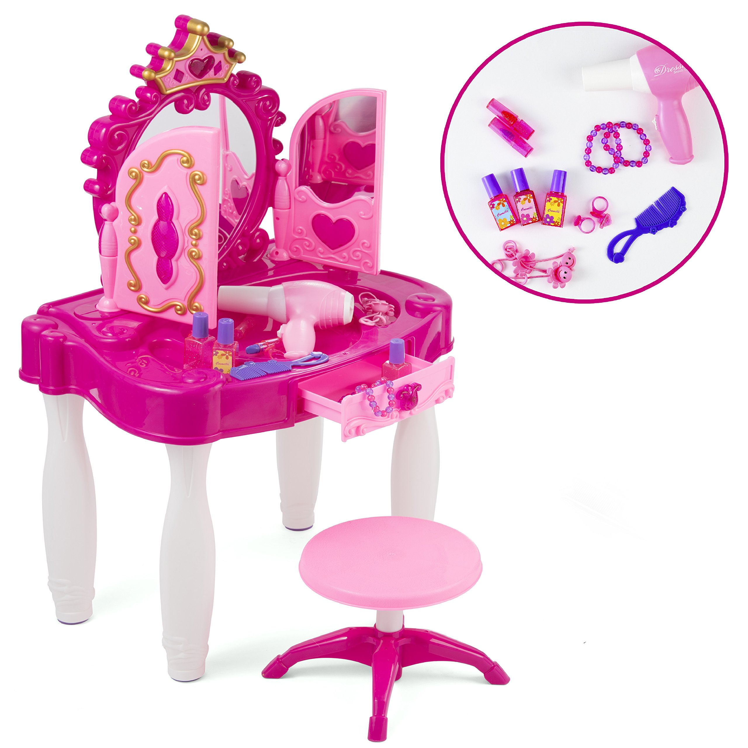 Pretend Play Kids Vanity Table and Chair Beauty Mirror and Accesories Play Set with Fashion & Makeup Accessories for Girls by Prextex