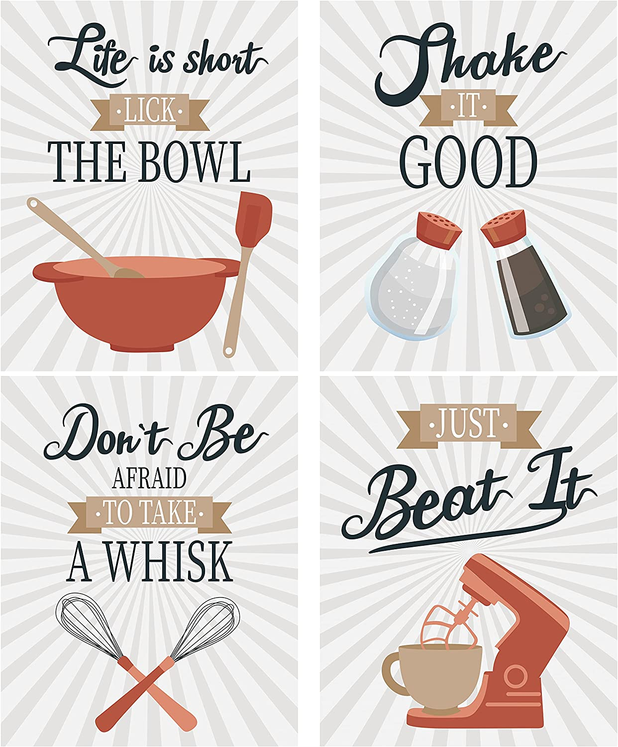 Kitchen Utensil Wall Art Prints Poster Decor - Set of 4 for Dining Room Contemporary Cafe Restaurant Home Apartment Housewarming Gift Rustic Modern Farmhouse Country Decor (8x10 UNFRAMED)