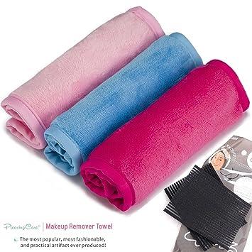 Paquete de gamuzas desmaquillantes con 3 unidades - Libre de sustancias químicas - Quita el maquillaje al instante solo con agua - Toallita reutilizable de ...