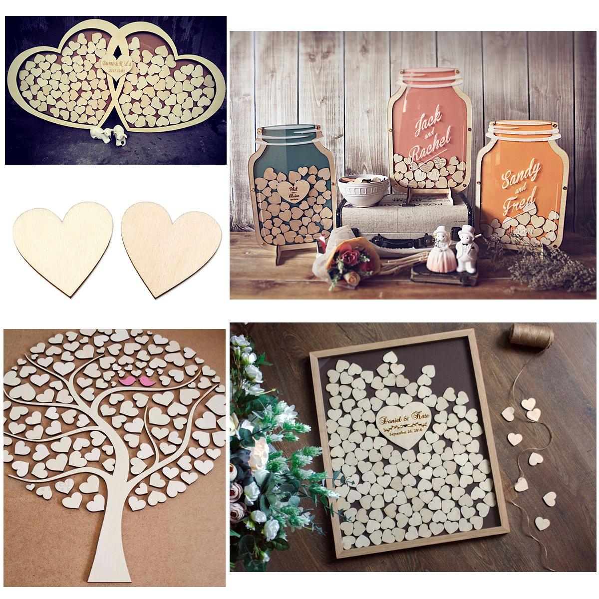 Pixnor 40mm bianco cuore legno dischi Log fette per mestieri abbellimenti confezione da 100 colore di legno
