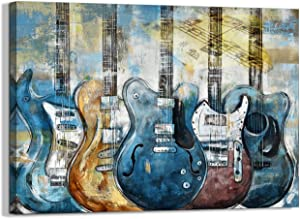 Guitar Wall Art Modern Blue Canvas Prints Musical Themed Canvas Picture Art work to Hang for bedroom Living Room office Wall Decor Size 12x16