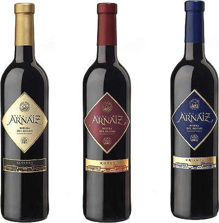 Viña Arnaiz Surtido de 3 Vinos con D.O Ribera del Duero Reserva, Crianza y Roble, 3 Botellas x 75 cl