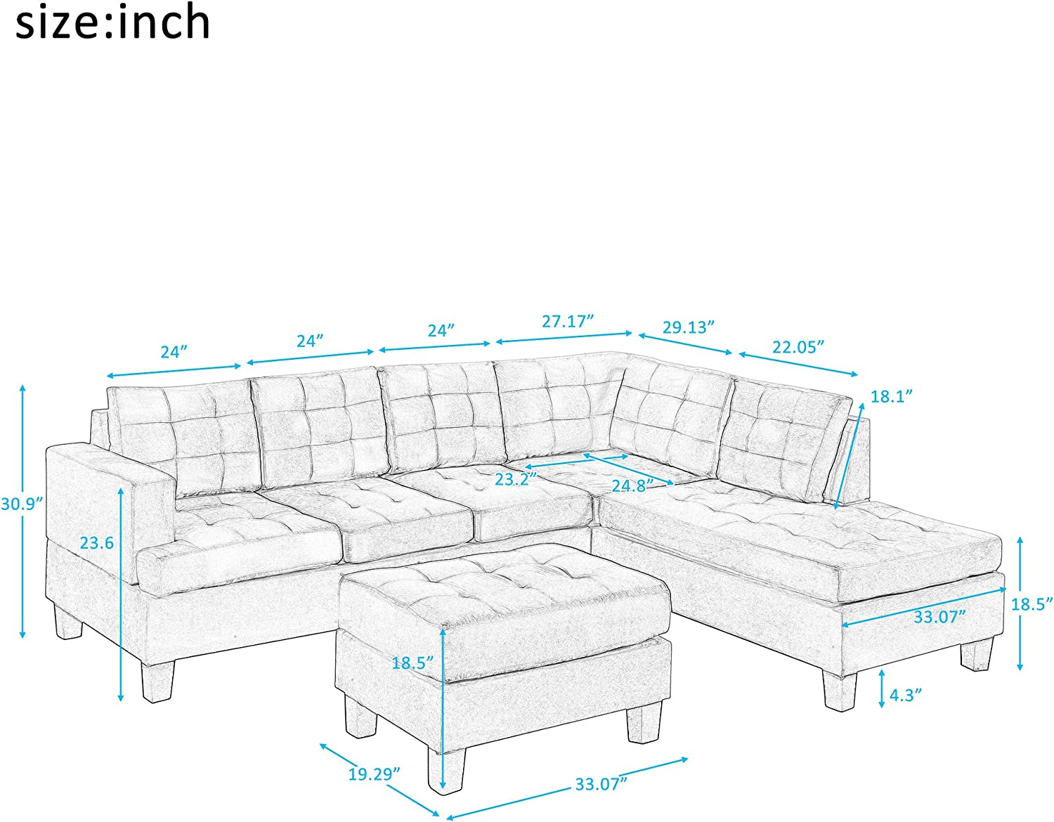Harper /& Bright Designs Sofa Sectional Sets 3-seat with Chaise Lounge and Ottoman Living Room Furniture Sofas