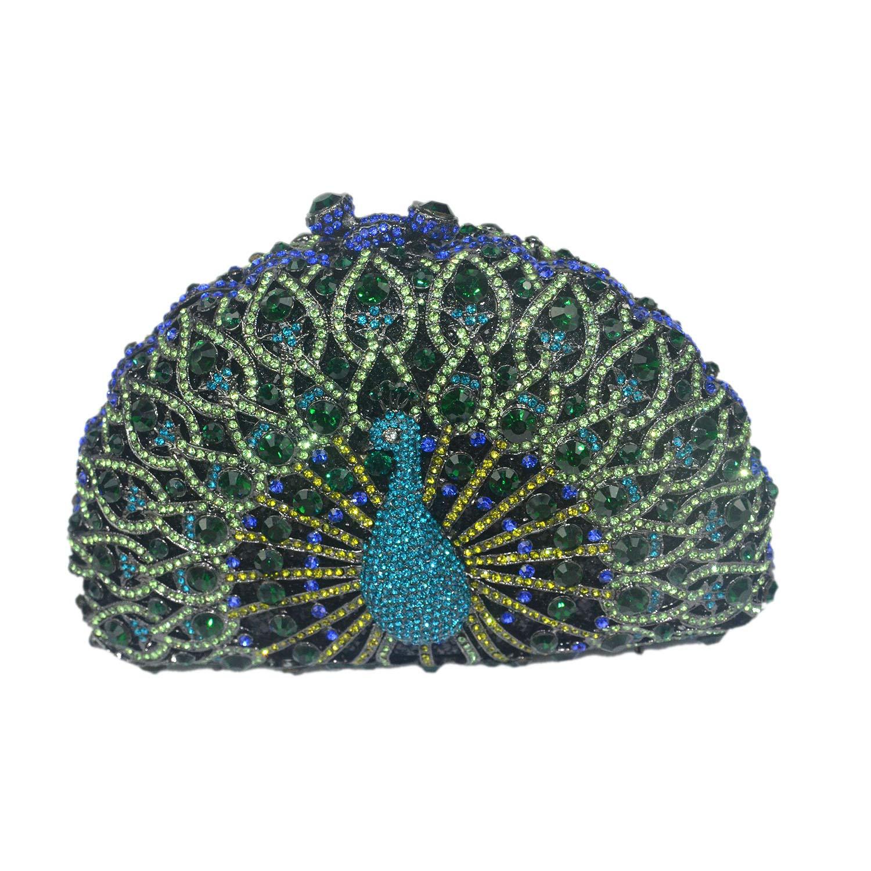 Aisunne Luxury Crystal Clutches Womens Evening Handbag Peacock Clutch Bags Purse Wedding Cocktail Party Handbags (Green)