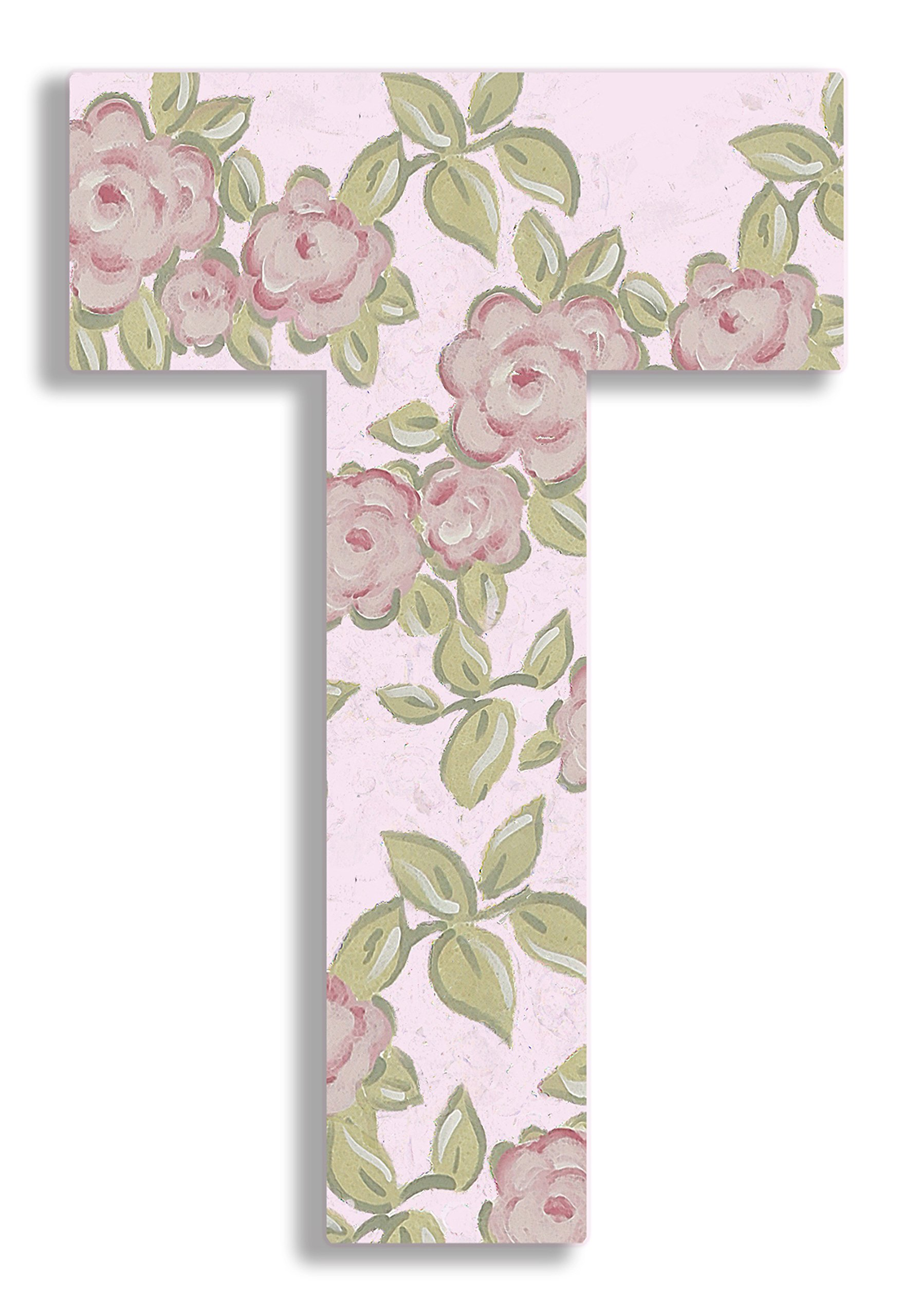 Stupell Home Décor Pink Roses on Pink 18 Inch Hanging Wooden Initial, 12 x 0.5 x 18, Proudly Made in USA by The Kids Room by Stupell
