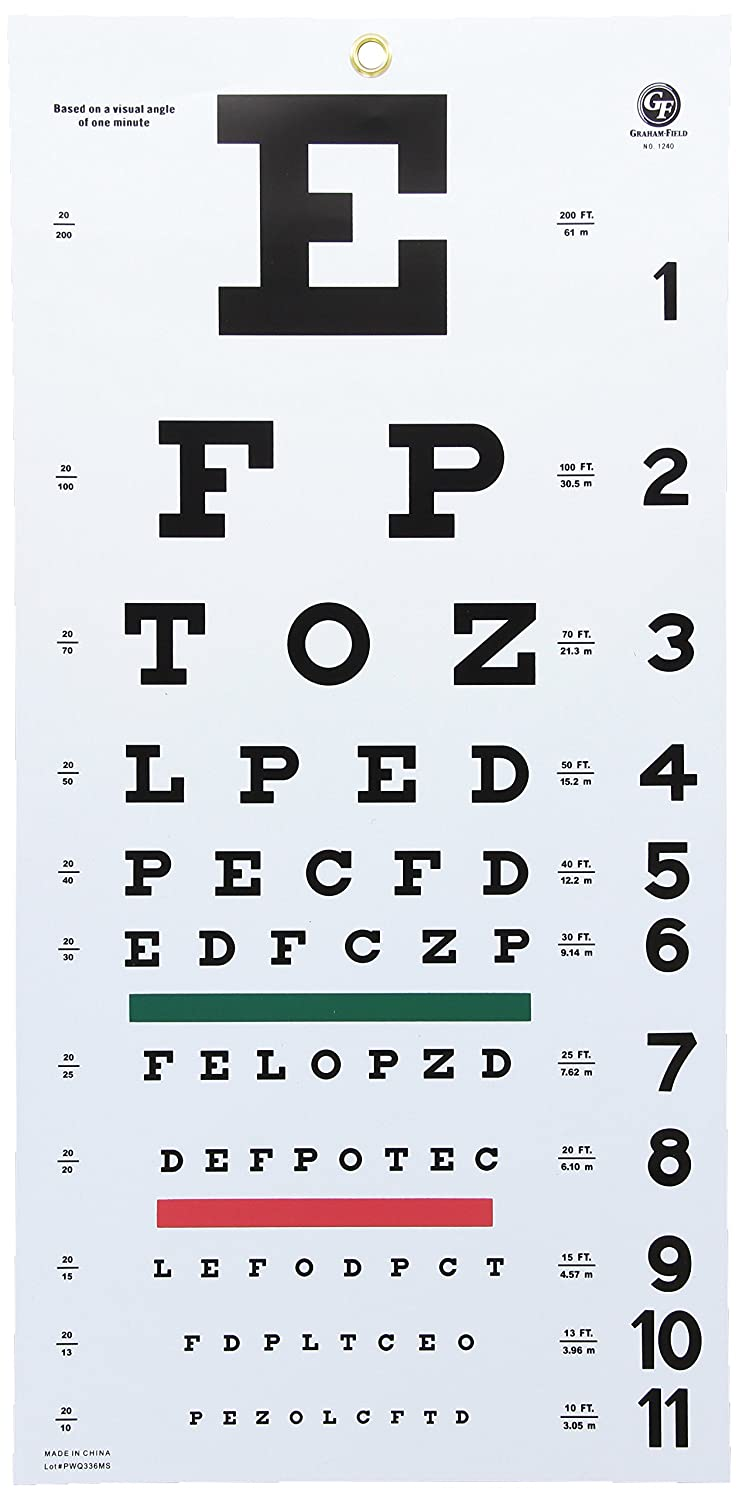 Amazon snellen hanging eye chart 20 graham field