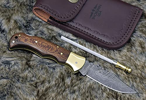 SHOKUNIN USA Pocket Knife 7.25 Exotic Leopard Wood Scales Damascus Steel Knife Brass Bolster Folding Knife Sharpening Pocket Knife Sharpener Hand Stitched Leather Sheath Real Damascus Custom