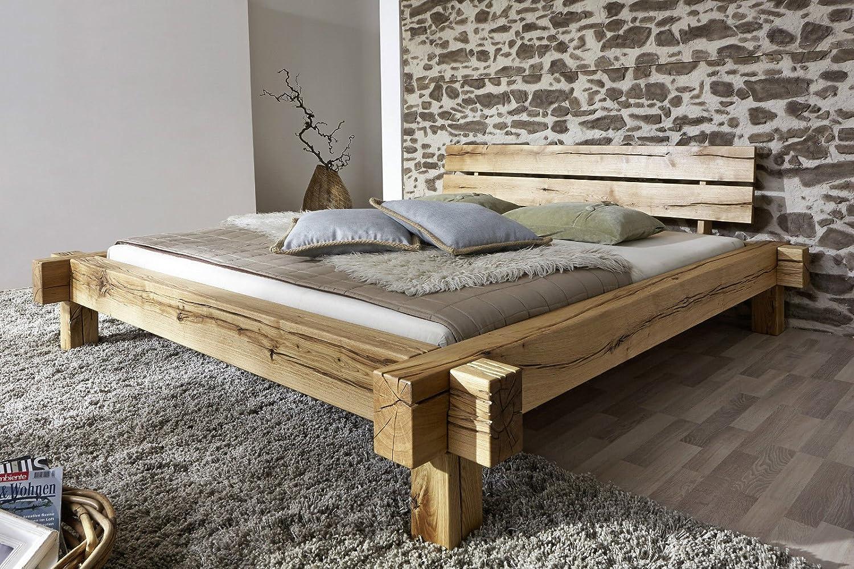 Doppelbett Bett Balkenbett 'Daniel' 200x200cm Wildeiche massiv Holz geölt