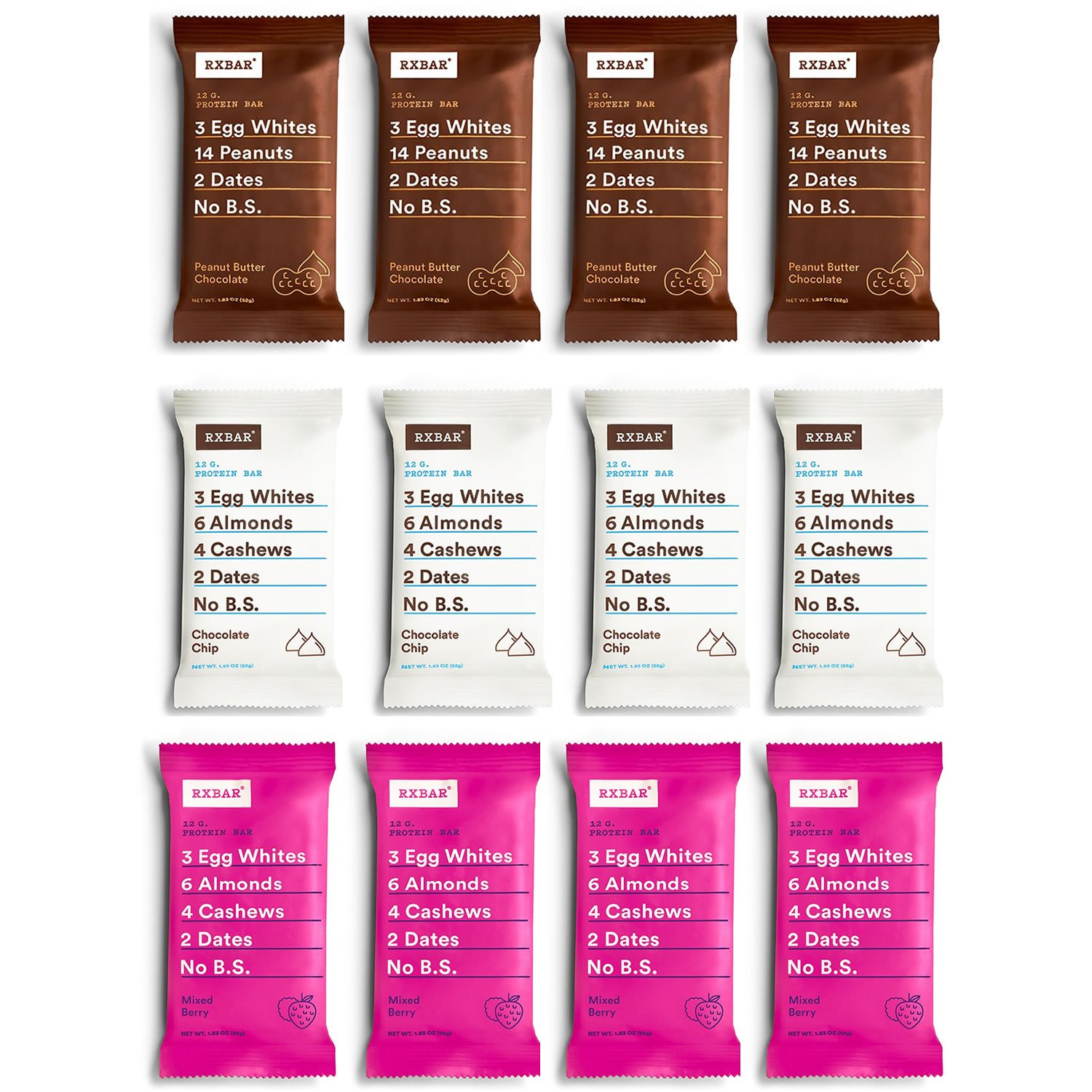 RX Bar New Flavor Variety Pack | Chocolate Peanut Butter, Mixed Berry, Chocolate Chip | 12 Bars