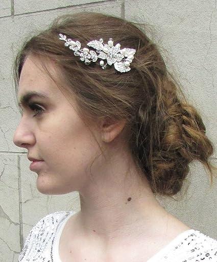 Brautschmuck haare blumen perlen  Silber Perle Bead Blume Haar Kamm mit Ivory Vintage Brautschmuck ...
