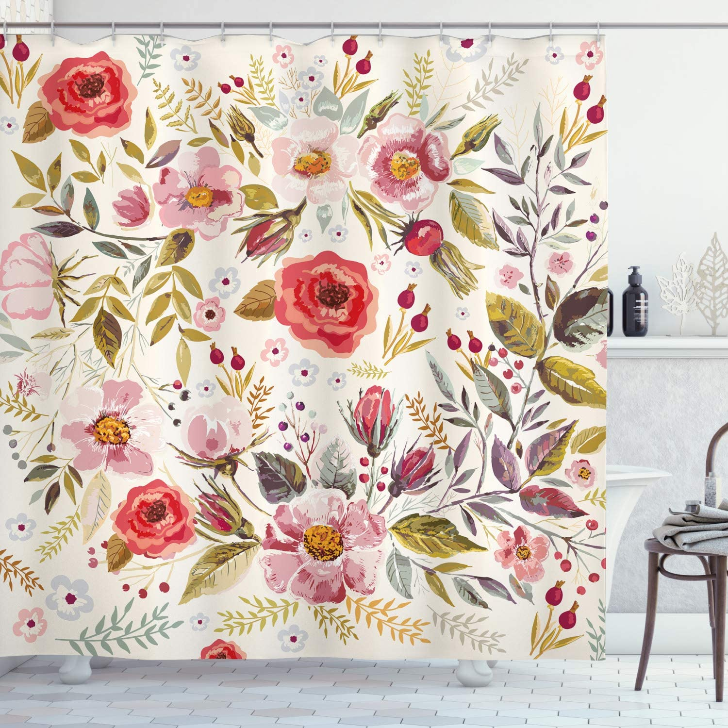 Ambesonne Floral Shower Curtain, Hand Drawn Watercolor Style Flowers Roses Blooms Leaves Romantic Vintage Artwork, Cloth Fabric Bathroom Decor Set with Hooks, 70