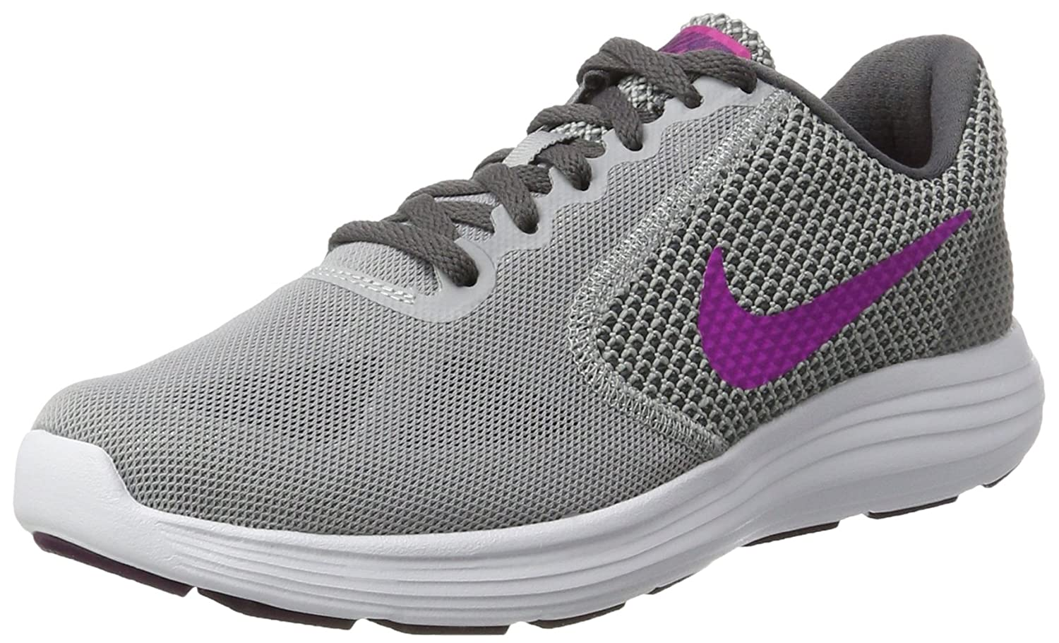 NIKE Women's Revolution 3 Running Shoe B0028NI73E 6.5 B(M) US|Wolf Grey/Fire Pink/Dark Grey