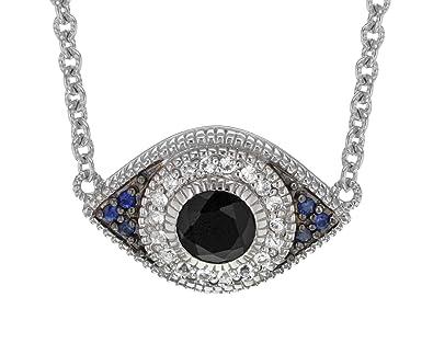 d1ec98670 Judith Ripka LTD Women's La Petite 925 Sterling Silver Black Onyx, White  and Blue Sapphire Evil Eye Pendant Necklace of 43.18cm: Amazon.co.uk:  Jewellery