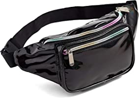 Holographic Glitter black Rave Fanny Pack For Women Grils Festival Waist Belt Bags (Bright black)