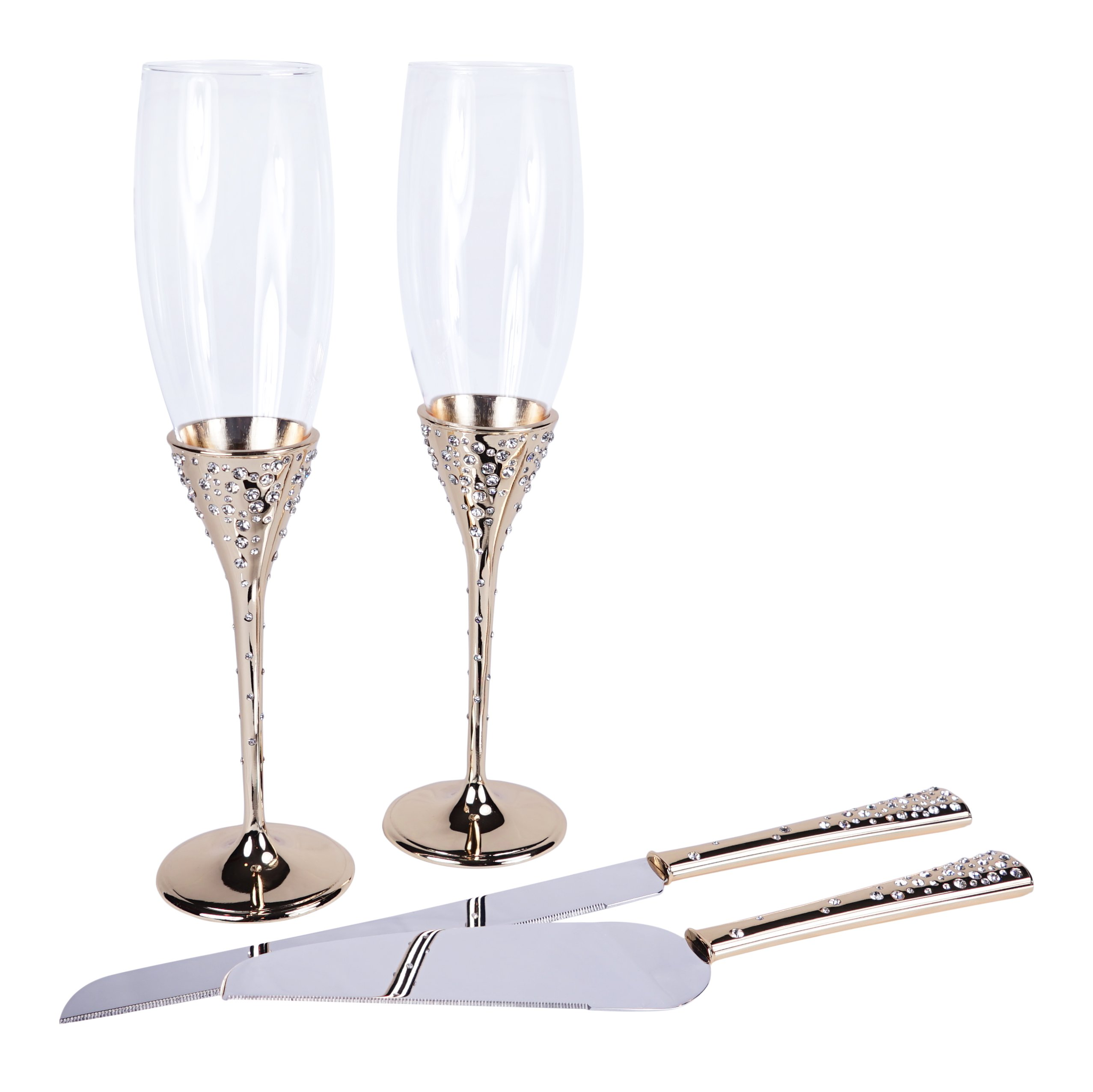 Crystal Collection Toasting Flutes & Cake Serving Set in Gold