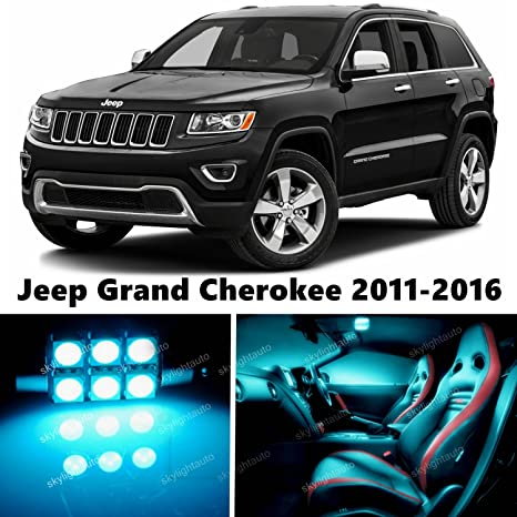 16pcs LED Premium ICE Blue Light Interior Package Deal For Jeep Grand  Cherokee 2011 2017
