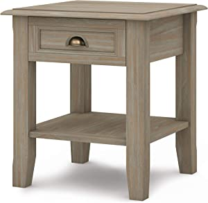 Simpli Home Burlington SOLID WOOD 18 inch wide Square Traditional End Side Table in Distressed Grey with Storage, 1 Drawer and 1 Shelf, for the Living Room and Bedroom