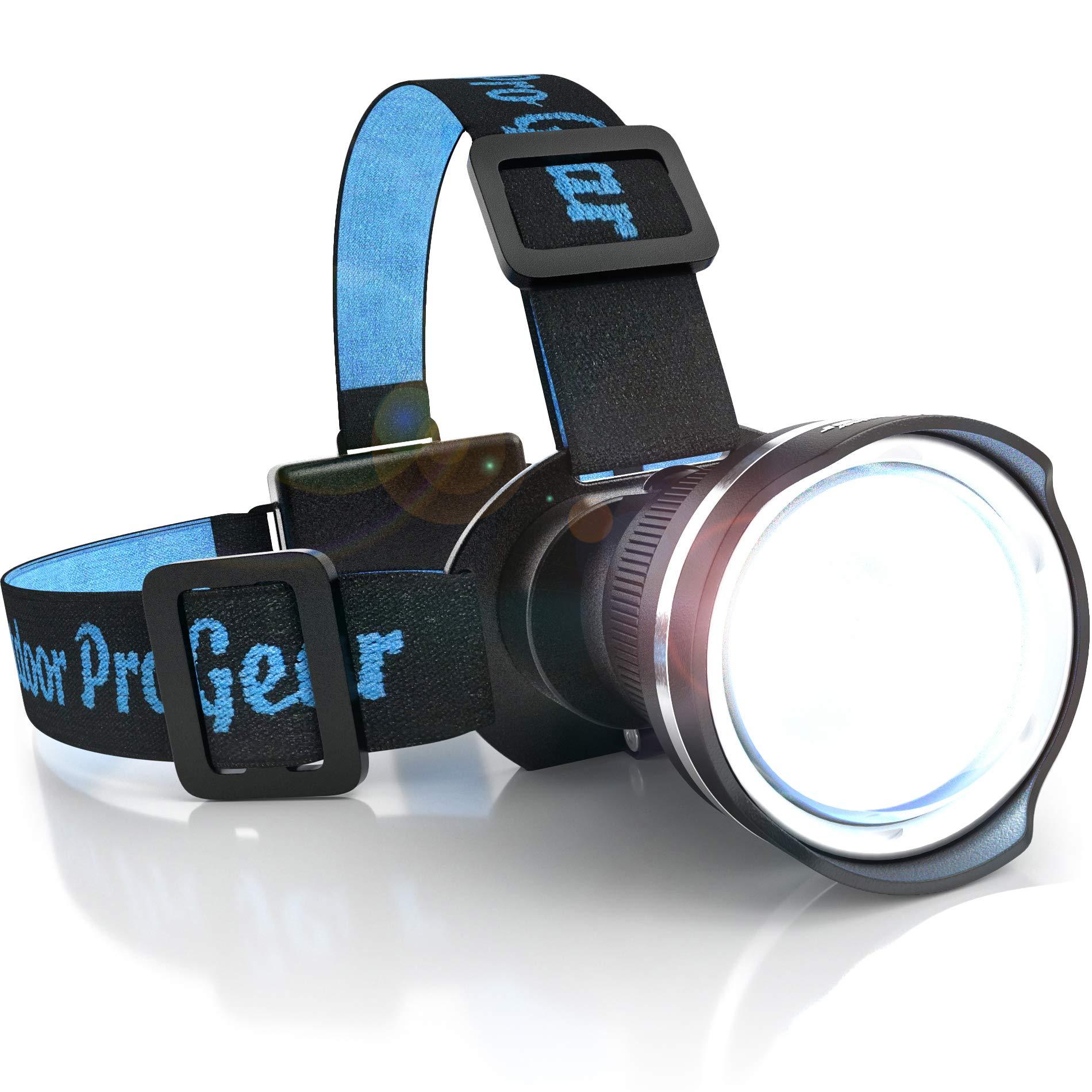 SUPER BRIGHT LED Headlamp - Best and Brightest Broadbeam Spotlight Headlight - Zoomable Camping light- Hunting Headlamp - Caving Flashlight - Running Head Lamp - Construction Hard Hat Light (BLACK) by Outdoor Pro Gear
