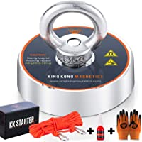 King Kong Magnetics Fishing Magnet Kit with Super Strong Magnet for Pulling 400 Lb, Gloves, Rope, Thread Locker and…