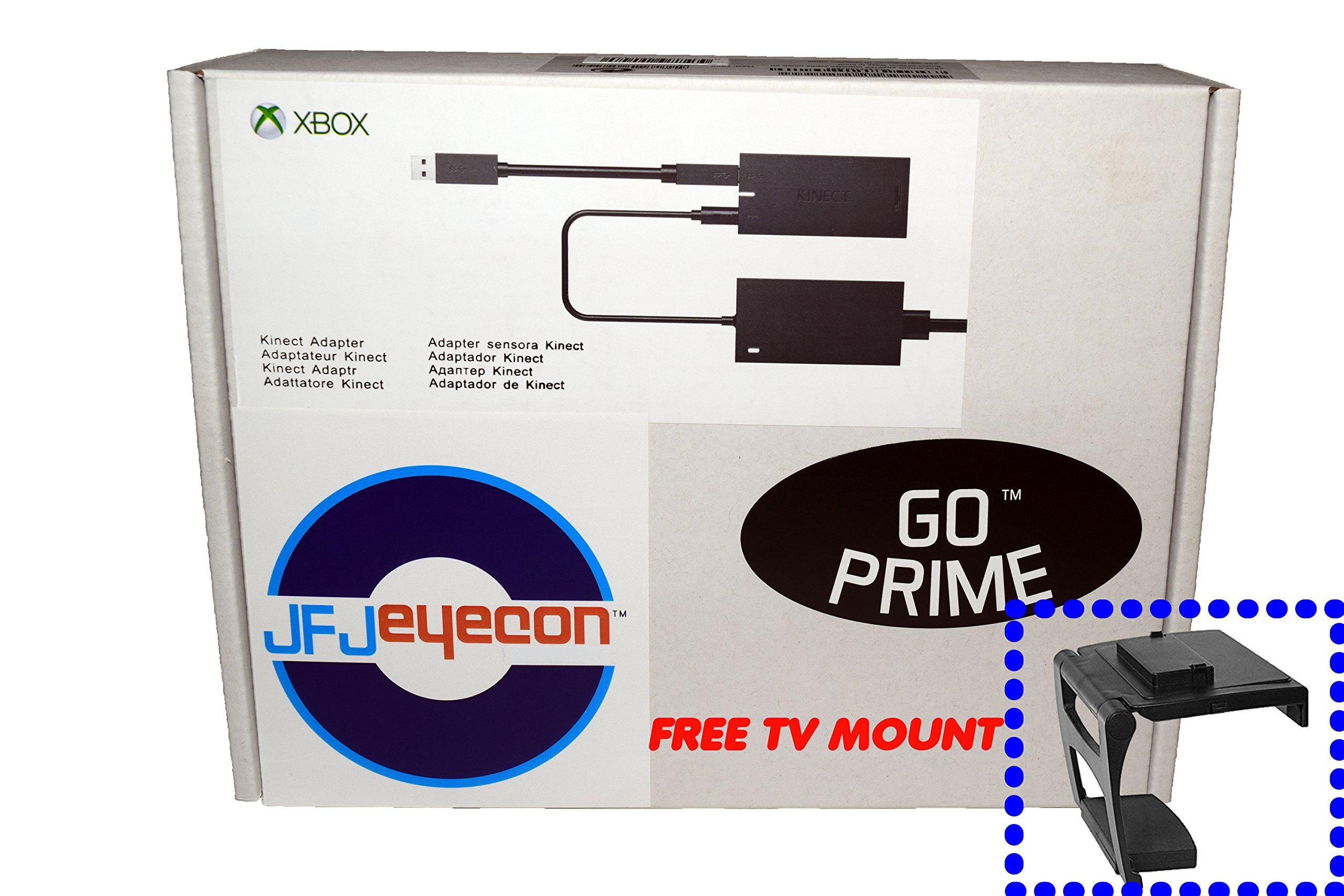 Xbox Kinect Adapter for Xbox One S, Xbox One X, and Windows 10 PC with Free TV Mount (Generic, New with Go Prime Seal)