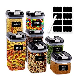 Airtight Food Storage Containers for Pantry Organization and Storage by Simply Gourmet. 7-Piece Set + 16 FREE Chalkboard Labels & Marker. Air Tight Containers for Food - Perfect for Kitchen Storage
