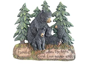 "Rustic Home Decor Kitchen Signs - Black Bear Decor Family Wall Plaque Made From Polyresin - Black Bear Wall Decorations Family Signs for Home Decor (Family Where Life Begins and Love Never Ends 9.5"")"