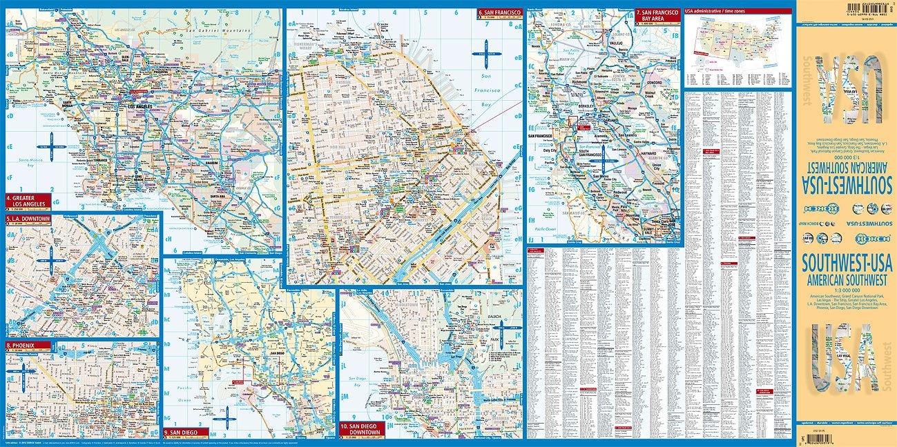 Laminated American SouthwestUSA  Map English Edition Borch - Southwest usa highway map