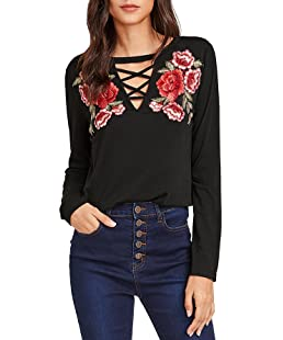 MakeMeChic Women's Sexy Cross Front Tops Floral Embroidered Long Sleeve T Shirt Black L