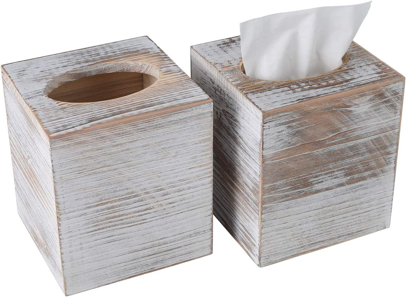TQVAI Rustic Wood Tissue Cube Box 2 Pack Toilet Paper Holder for Bathroom, Kitchen, Countertop, Living Room Decor