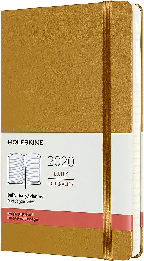 Moleskine - Agenda Diaria de 12 Meses 2020, Tapa Dura y Goma Elástica, Color Amarillo Ocre, Tamaño Grande 13 x 21 cm, 400 Páginas