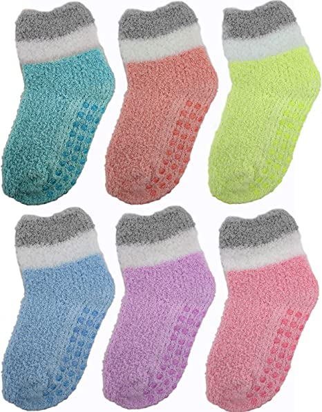 Boys Kids Warm Cosy Socks 4 Pairs Anti Slip Grippers Non Skid Grip Size 6-8.5-4-6