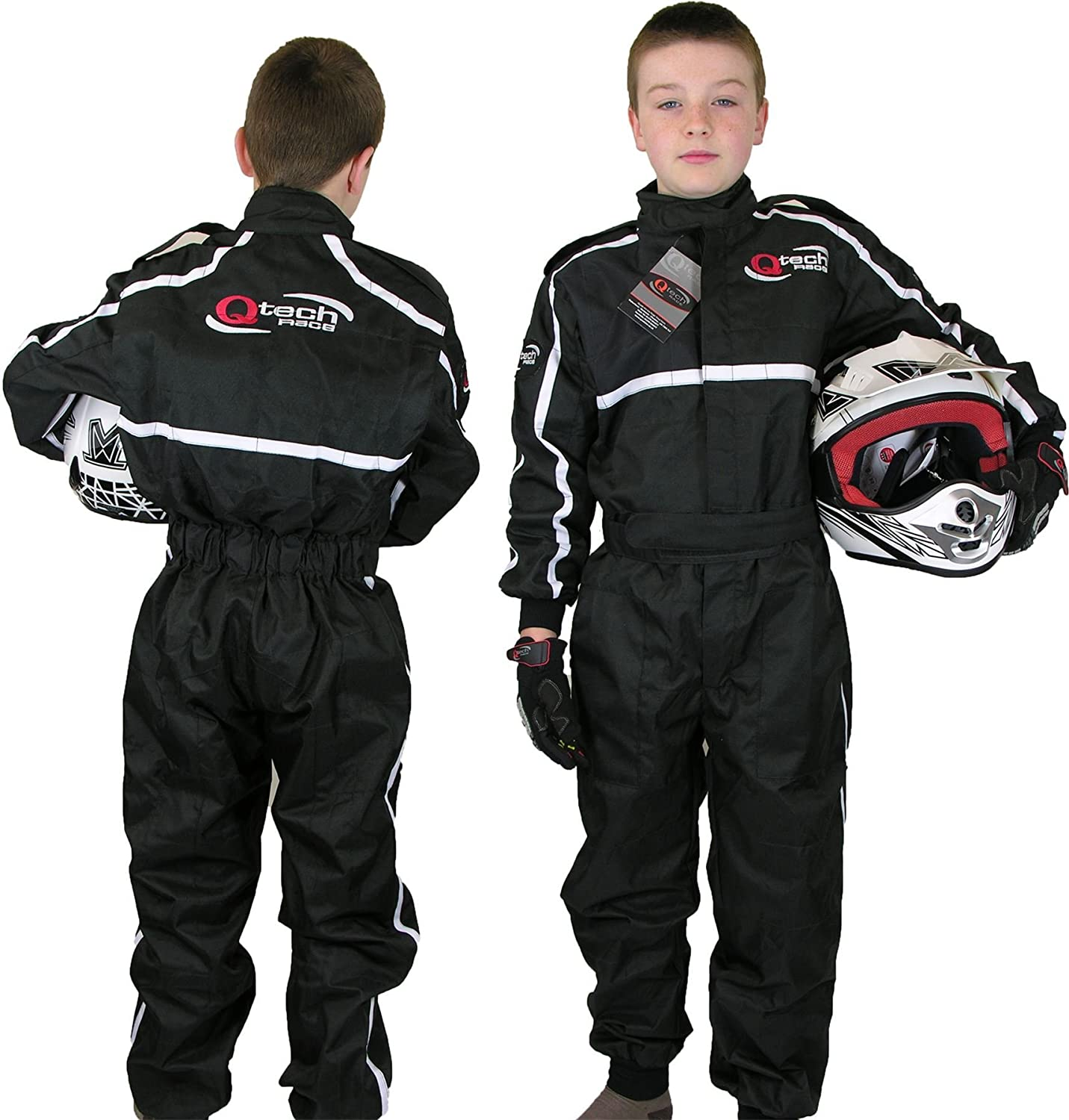 Blue Medium Qtech Childrens Racing Suit Limited Edition for kids Motocross ATV Karting and General Usage with Ankle Cuffs
