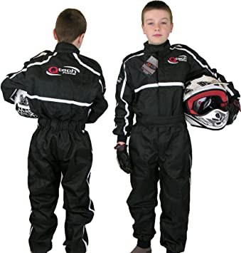 Large Black Qtech Childrens Racing Suit Limited Edition for kids Motocross ATV Karting and General Usage with Ankle Cuffs