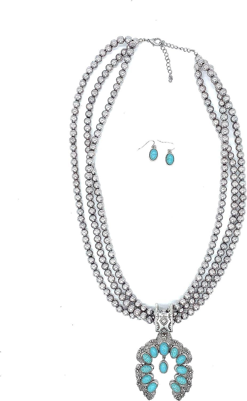 Jayde N Grey Turquoise Squash Blossom Navajo Bohemian Womens Southwestern Statement Choker Necklace /& Earrings Bundle Set /& Jewelry Bag